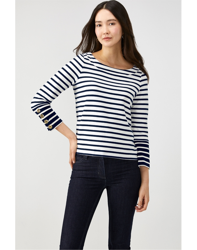 Heavy Jersey Button Cuff Top