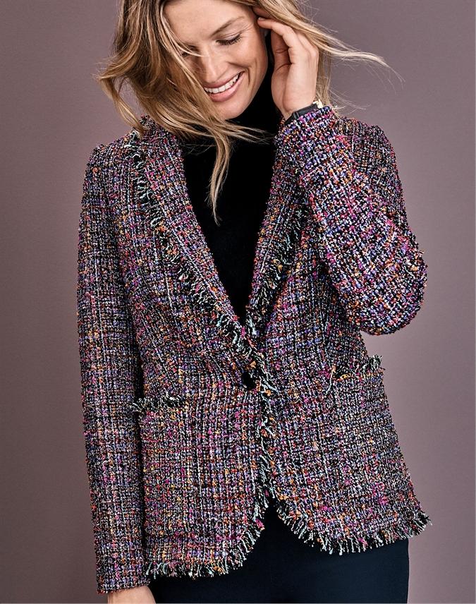 Fringed Tweed Blazer