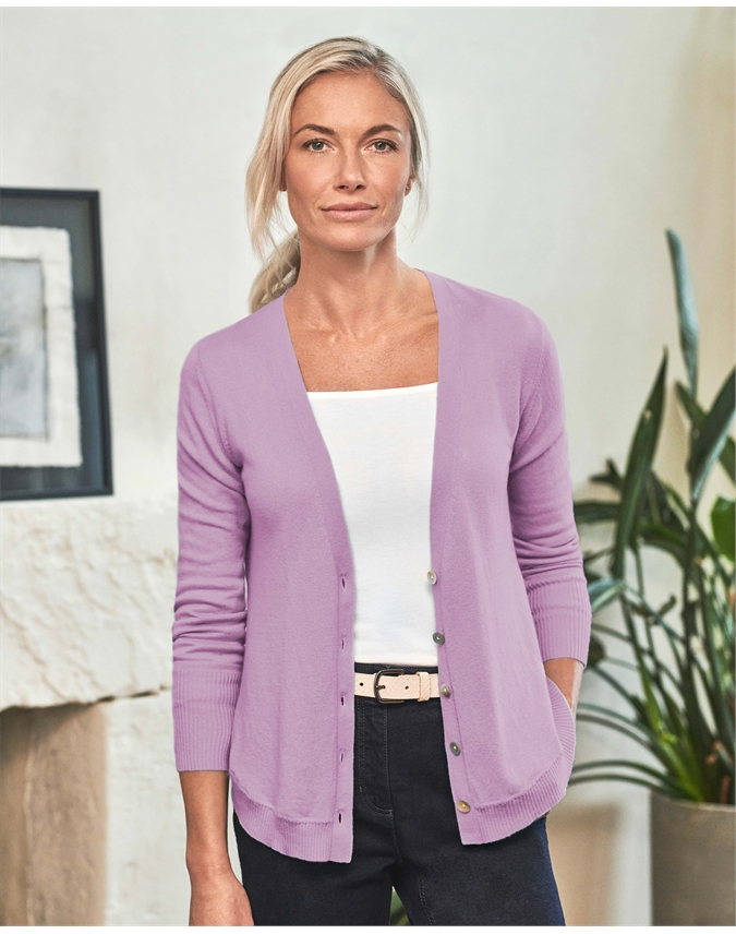 Womens Curved Hem V Neck Cardigan