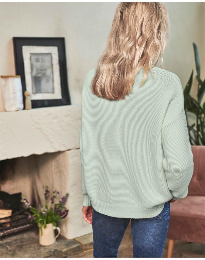 Cotton Dipped Hem Textured Sweater