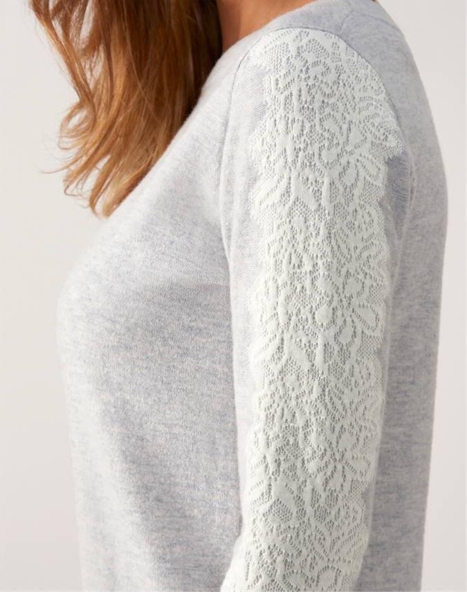 Knitted Lace Detail Sweater