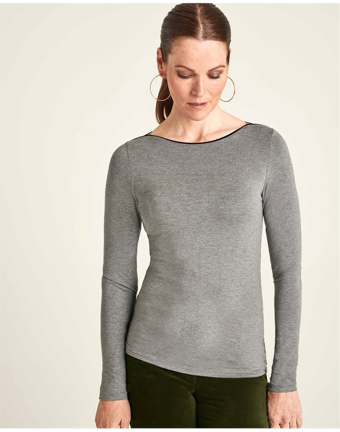 Soft Jersey Boatneck Top