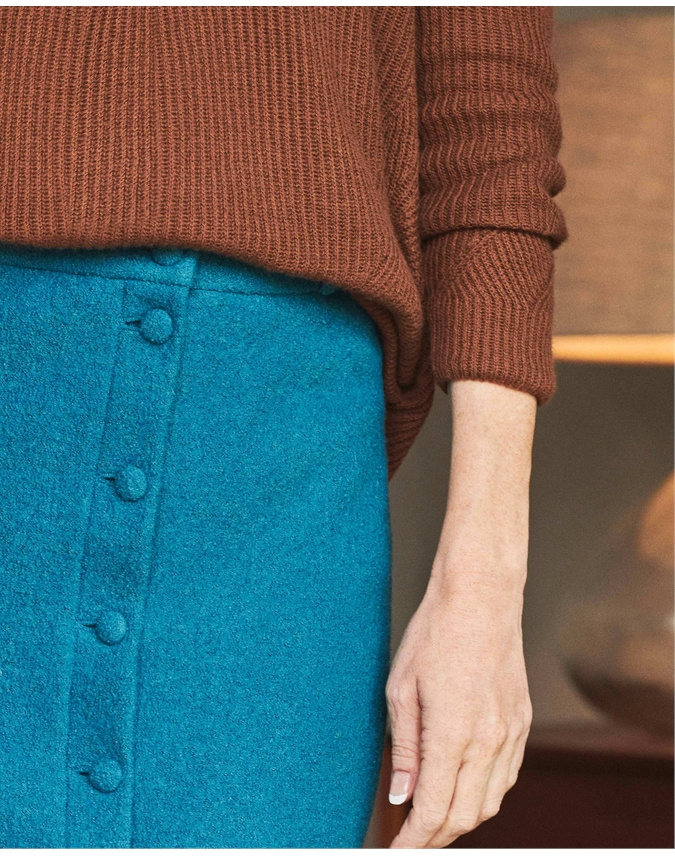 Wool Blend Button Through Midi Skirt