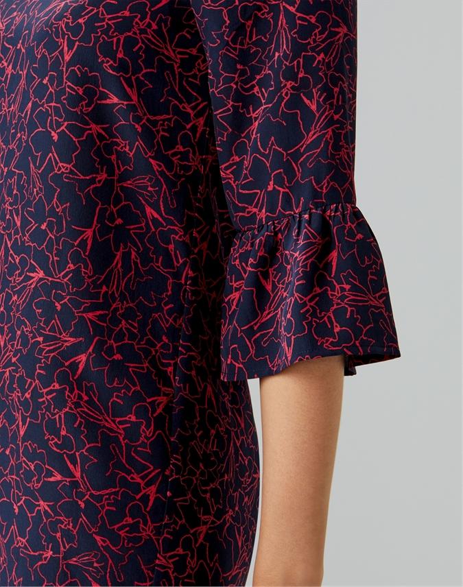 Silk Frill Sleeve Dress