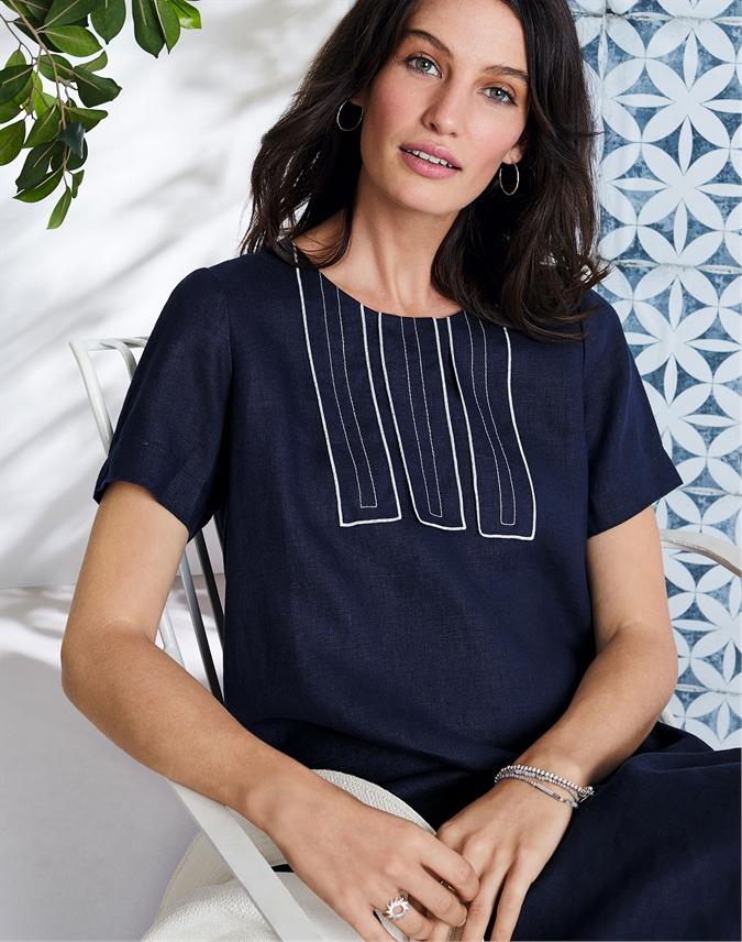 Linen Contrast Stitch Dress