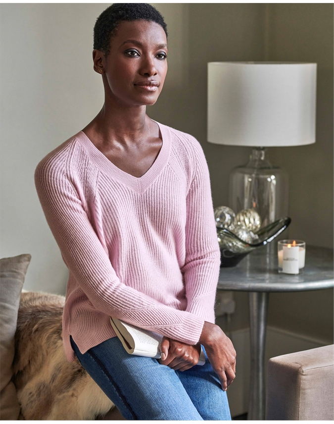 Organic Ribbed V Neck Sweater