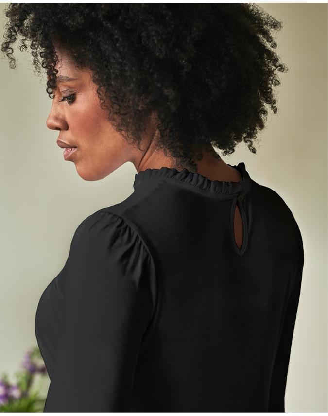 Ruffle Detail Jersey Top