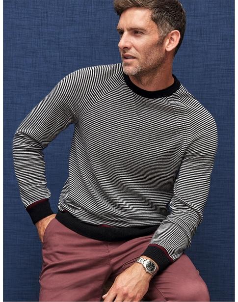Cashmere Sweatshirt Black Stripe