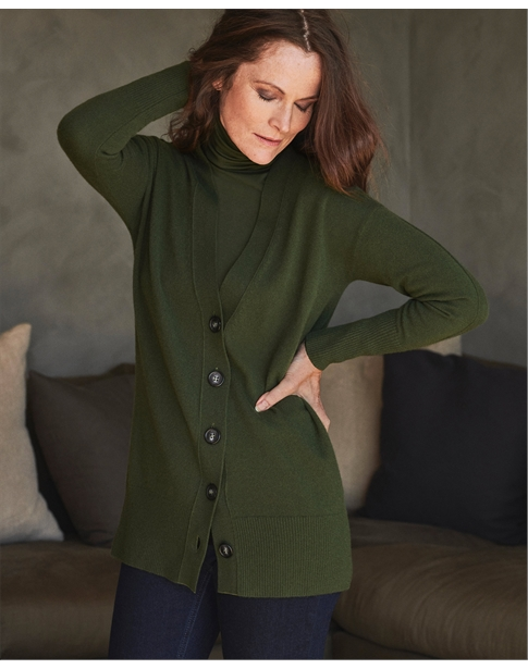 Cashmere Ribbed Trim Boyfriend Cardigan