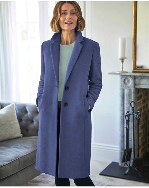 Boucle Wool Blend Midi Coat
