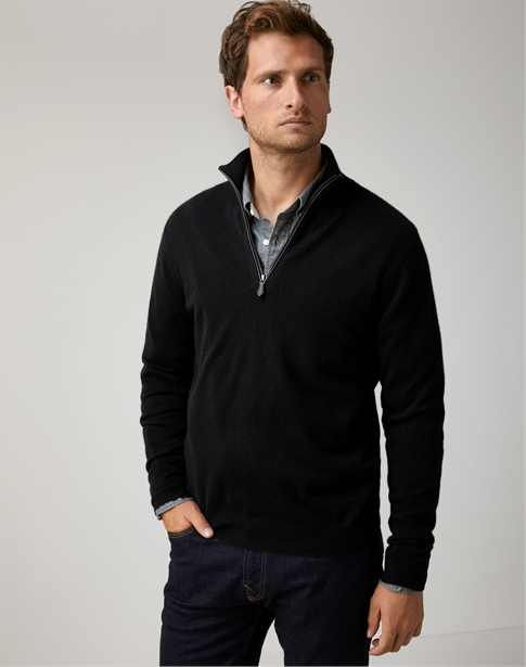 Mens Cashmere Zip Neck Sweater