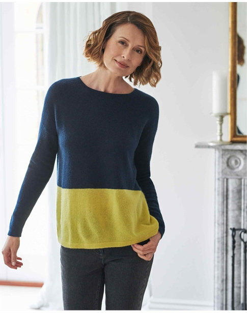 Gassato Cashmere Relaxed Colour Block Chartreuse Sweater