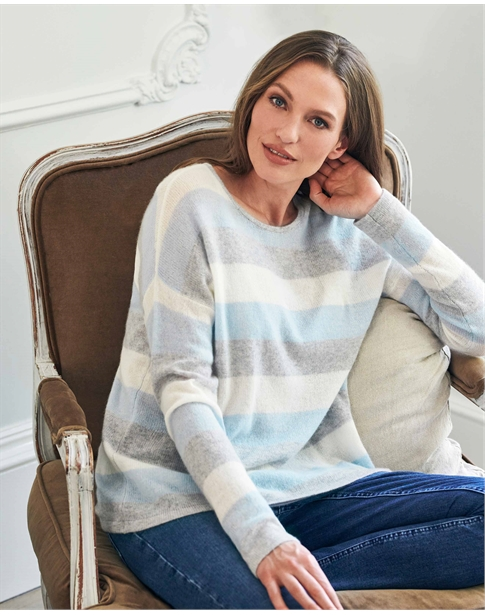 Gassato Cashmere Relaxed Blue Stripe Sweater