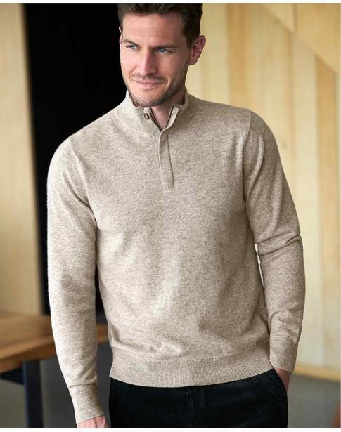 Mens Cashmere Half Zip Sweater