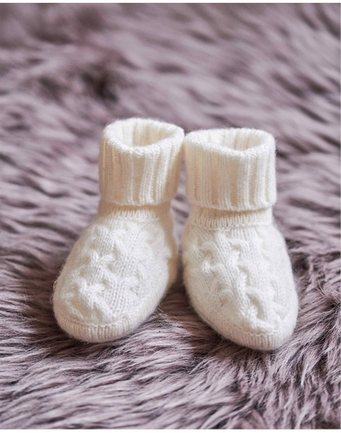 Cashmere Baby Cable Booties