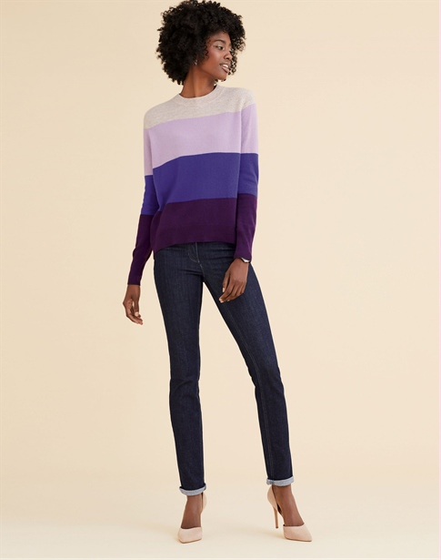 Cashmere Curved Hem Boyfriend Sweater
