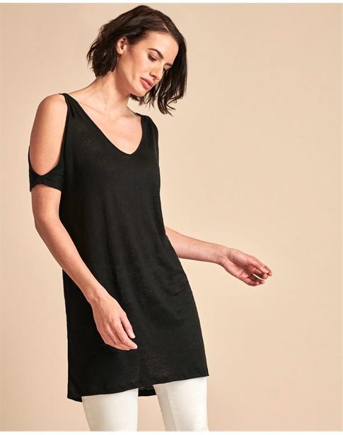 Cold Shoulder Linen Jersey Dress