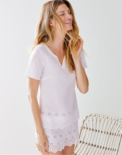 Embroidered Cotton Pyjama Set