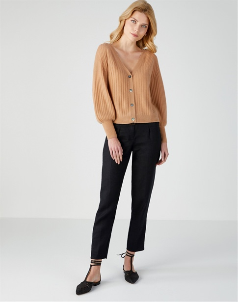 Gassato Balloon Sleeve Ribbed Cardigan