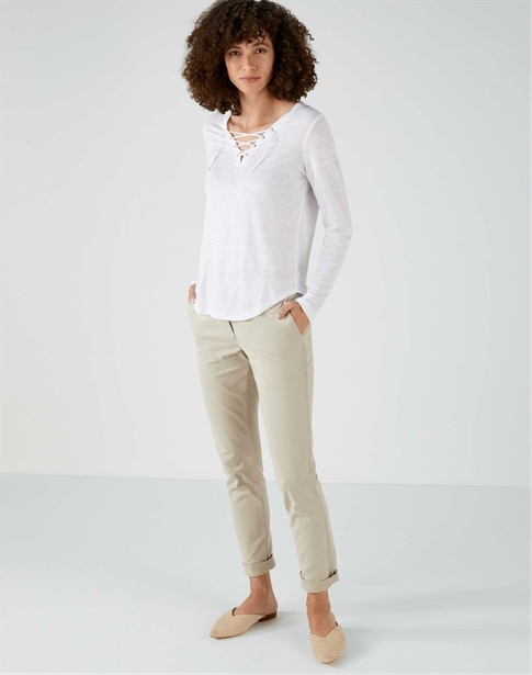 Jersey Linen Tie Neck Top