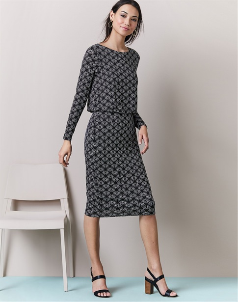 Jersey Slim Blouson Dress