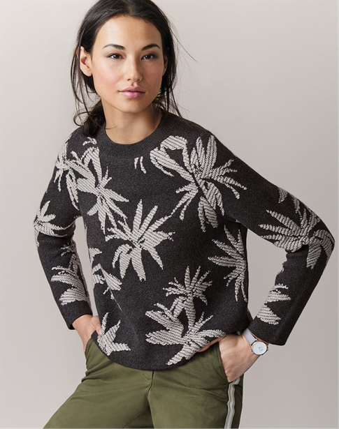 Knitted Palm Jacquard Sweater
