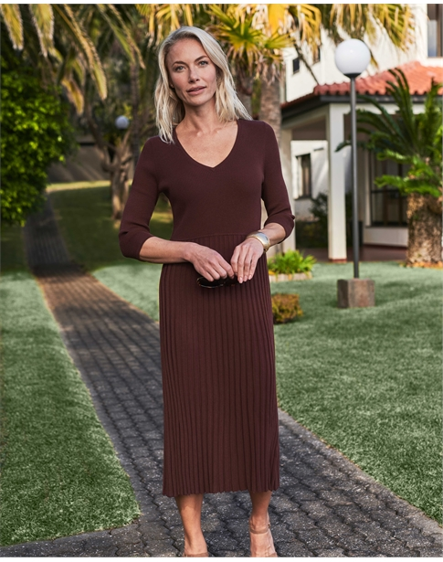 Knitted V Neck Pleat Dress