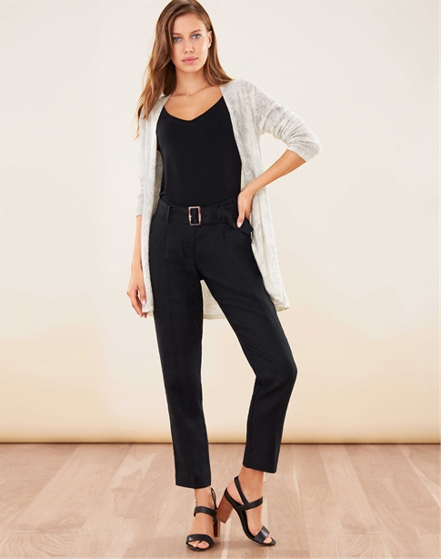 Laundered Linen Belted Trouser