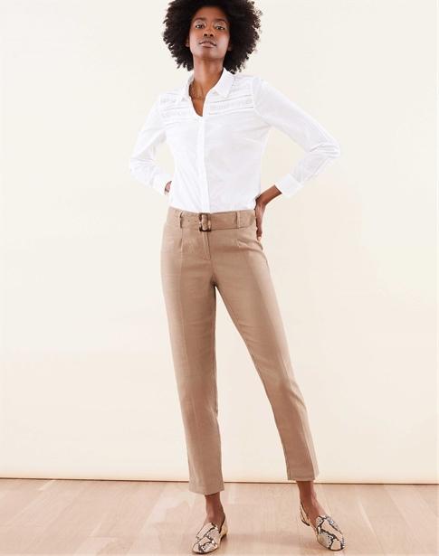 Laundered Linen Belted Trouser