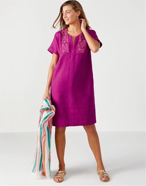 Laundered Linen Lace Trim Dress