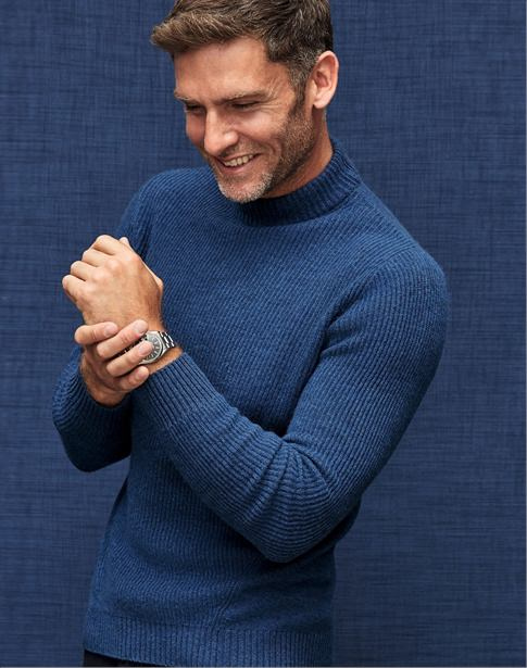 Mens Cashmere Ribbed Sweater