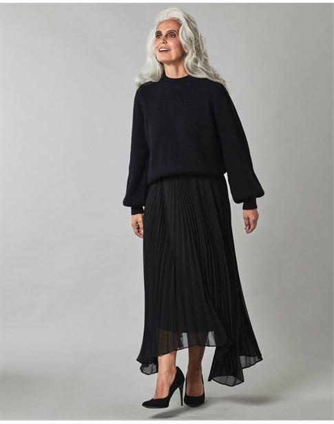 Pleated Drop Hem Skirt