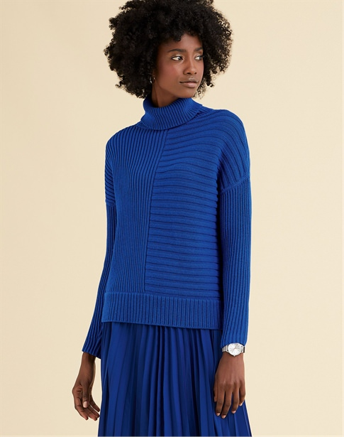 Ribbed Relaxed Polo Neck Sweater