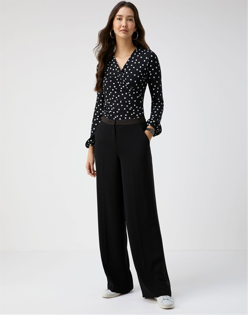 Satin Trim Wide Leg Trouser