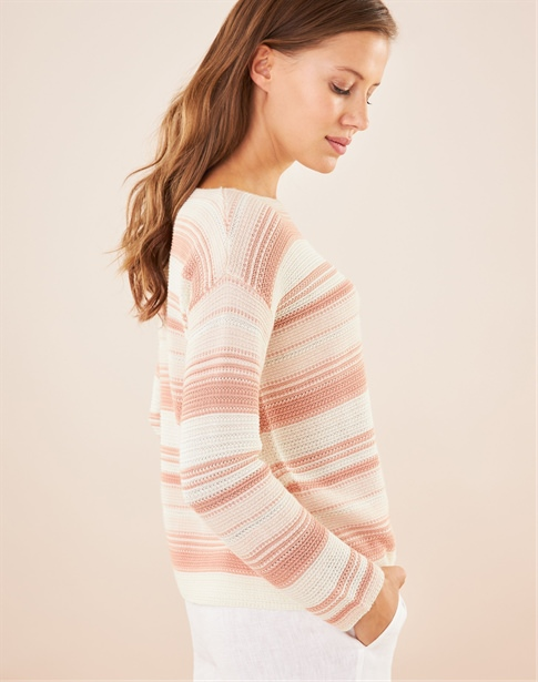 Textured Stripe Boat Neck Sweater