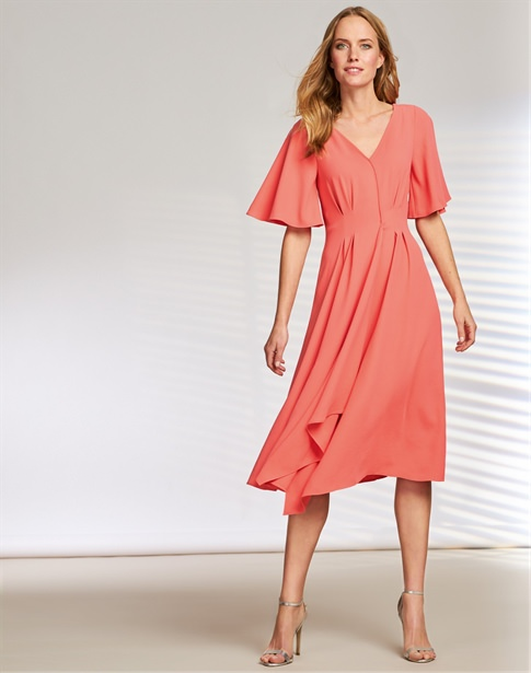 V Neck Soft Crepe Dress