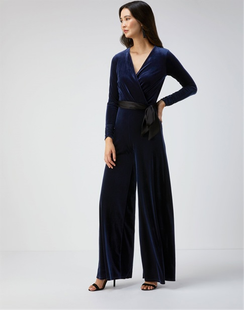 Velour Wide Leg Jumpsuit