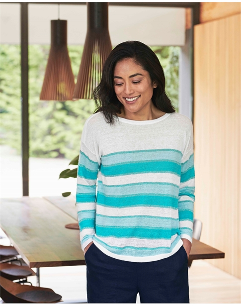 Linen Lurex Stripe Sweater