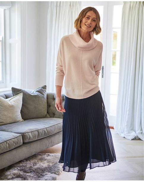 Pleat Midi Skirt
