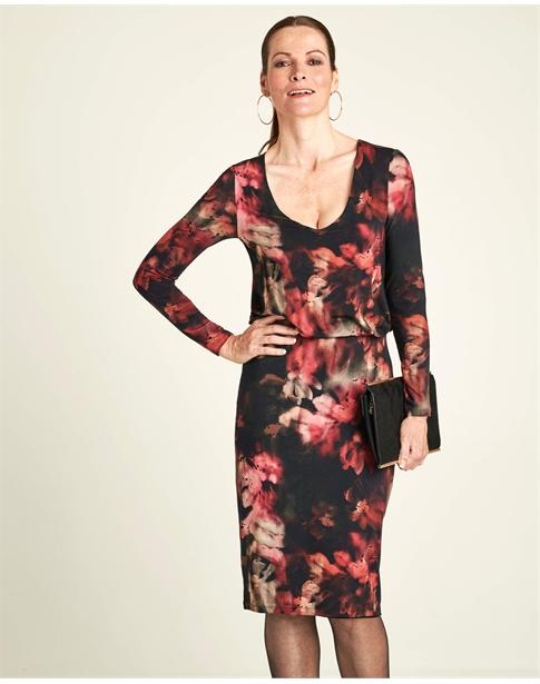 Jersey V Neck Blouson Dress