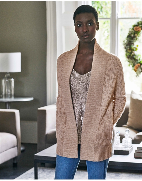 Organic Cashmere Luxury Cable Cardigan