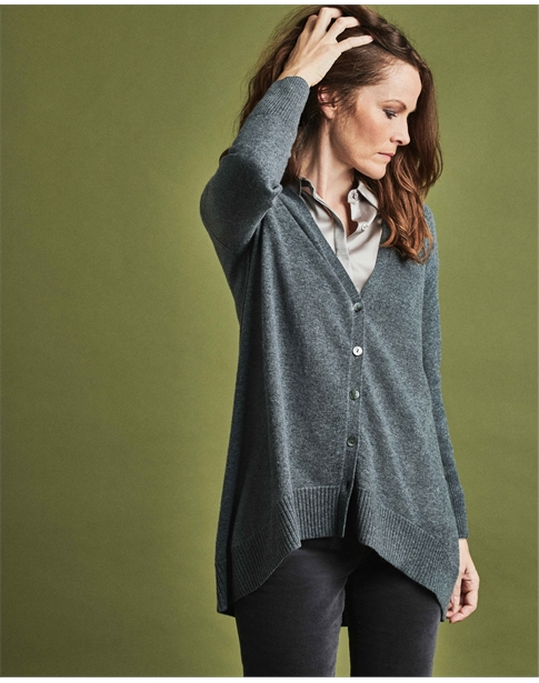 Wool Cashmere Swing Cardigan