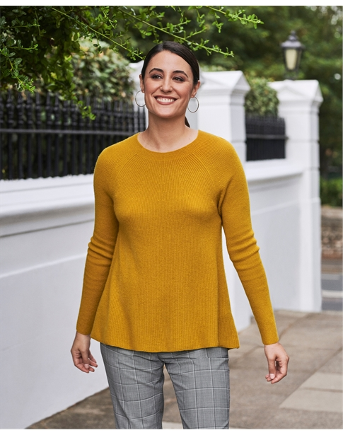 Cashmere Ribbed Swing Sweater