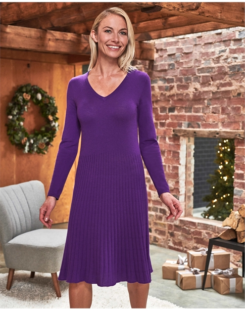 V Neck Knitted Dress