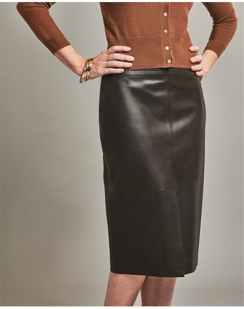 Leather Split Front Pencil Skirt