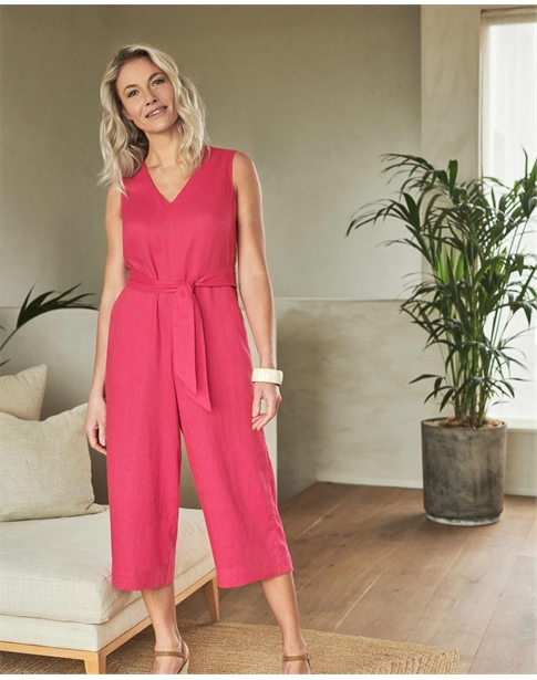 Linen V Neck Jumpsuit