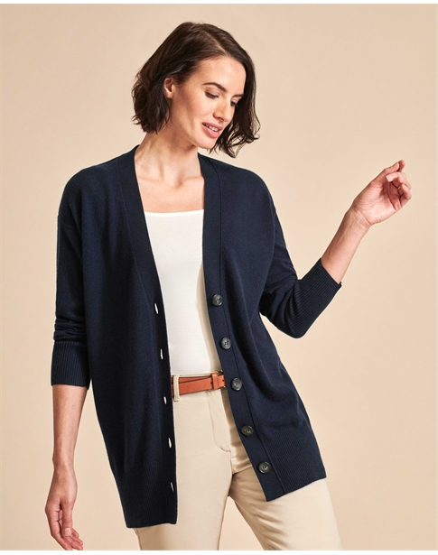 Ribbed Cashmere Trim Boyfriend Cardigan