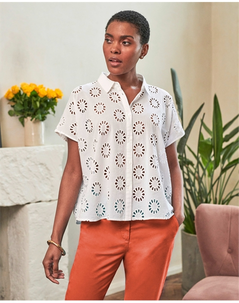 Cotton Embroidered Boxy Shirt