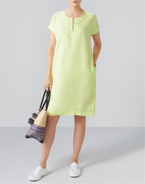 Laundered Linen Laced Neck Dress