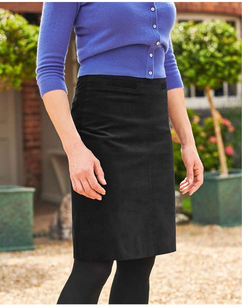 Washed Velvet A Line Skirt
